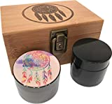 DREAMCATCHER STASH BOX COMBO - Combo Includes a matching 4 piece titanium grinder and smell proof stash jar that nest inside the Stash Box. Now comes with a lock and Key!  Stash Box Combo details:  PREMIUM TITANIUM GRINDER: • Four piece titanium grin...