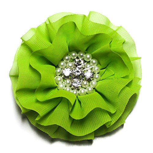 Lime Green Crystal and Pearl Chiffon Hair Clip