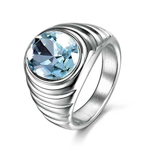 MASOP 316 Stainless Steel Mens Statement Ring Blue Aquamarine Color CZ Stone Silver Tone