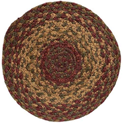 Braided Round Trivets - IHF Home Decor Table Trivets Rug for Kitchen, Dinner Tables, Bar Drink, Living Room, Bathroom | 100% Natural Braided Area Trivet - Round Shaped | Cinnamon - Jute Fiber Circle Rugs 8