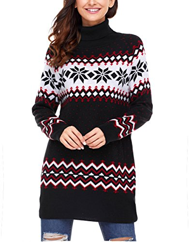 - Dearlovers Womens Long Sleeve Snowflake Knit Turtleneck Jumper Long Ugly Christmas Sweater Tops XX-Large Size Black