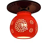 Lilamins Chinese Wooden Ceiling Light Jingdezhen Chinese Red Glazed Ceramic Balcony Aisle Hooded Single Head Ceiling Lamps, 17 16Cm