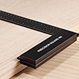 Woodraphic Precision Square Ruler for Measuring and Marking - Aluminum Steel Framing Tool for Professional Carpentry Use