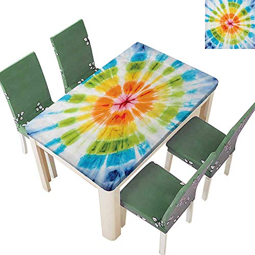 Indoor/Outdoor Polyester Tablecloth Gradient Twisted Trippy Round Grunge Batik Figure with Spotted Large Wedding Party 54 x 72 Inch