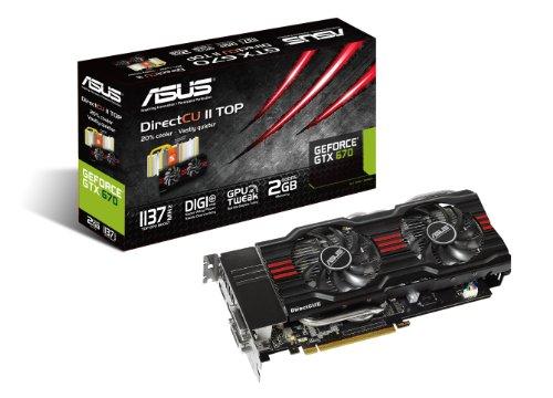 ASUS GeForce GTX 670-DC2T-2GD5 VGA  - 1137 MHz Boost Clock - 2GB GDDR5 - GPU Tweak - PCIE 3.0 Graphics Card Graphics Cards GTX670-DC2T-2GD5 (Top Directcu)