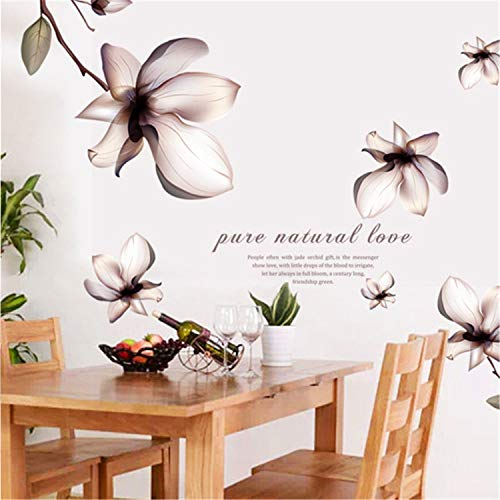 AdornHome-Sticker Fantasy Flower Fifth Generation Removable Wall Sticker PVC Milk White Film , 60X90CM -