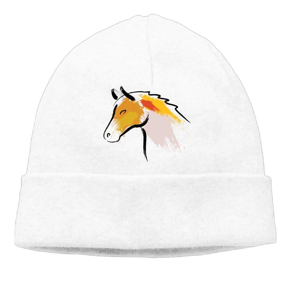 Oopp Jfhg Beanies Knit Hat Skull Cap Color Doodle Horse Men White