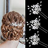 Sppry Wedding Hair Pins (3 Pcs) - Elegant Pearl Floral Crystal Hair Accessories for Bridal Women (Silver)