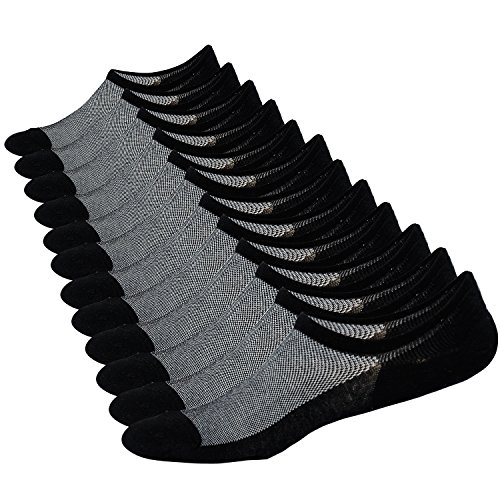 Epeius 6 Pair Pack Men's Mesh Knit No Show Socks Casual Low Cut Non Slip Boat Liners Sock Size 13-15,Black,Shoe Size 11-14