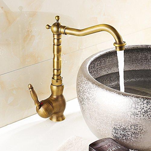4 LHbox Basin Mixer Tap Bathroom Sink Faucet A full continental antique copper faucet basin antique kitchen sink faucet, antique bluee-tiled low)