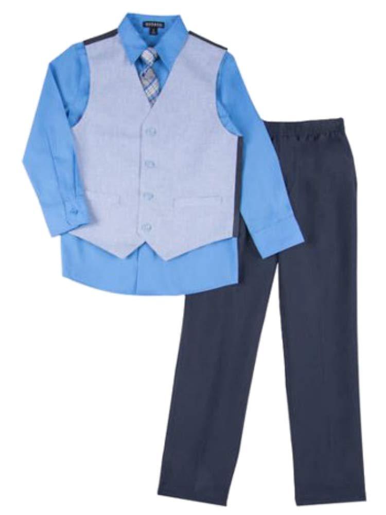Boys 4 Piece Suit Blue Fleck Dress Up Outfit Holiday Shirt Tie Pants & Vest 5T