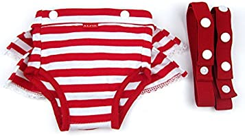 Charlotte Diaper Dog Sanitary Pantie with Suspender 2-Piece Set for Girl Dogs Color: Blue Red Alfie Pet Size: XS