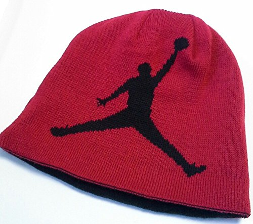 (NIKE Jordan Jumpman Boys Reversible Knit Hat Black/Red Youth 8/20)