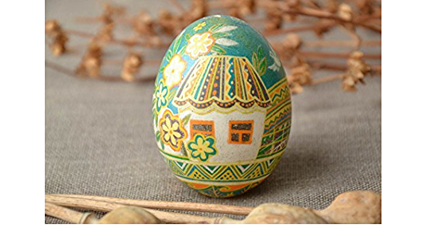Huevo decorativo de Pascua pintado a mano con tintes ...