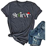 Christmas Believe Tree Shirt Cute Short Sleeve Christmas Graphic Tee Shirts Tops for Women Christmas Shirts with Sayings