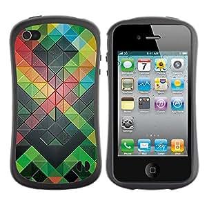 Pulsar iFace Series Tpu silicona Carcasa Funda Case para Apple iPhone 4 / iPhone 4S , Moderno Abstract Green
