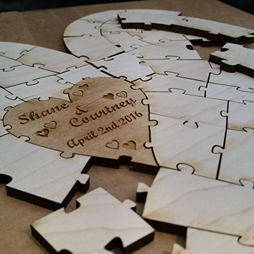 Personalized Heart Shaped Wedding Puzzle Guest Book Alternative (50 Piece) -