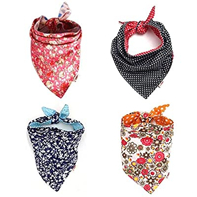 FUNPET 4 Pack Dog Bandana Triangle Bibs Bright Coloured Scarfs Accessories for Pet Cats and Baby Puppies