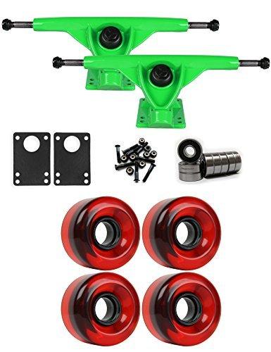 RKPグリーンLongboardトラックホイールパッケージ62 mm x 40 mm 83 a 186 Cレッドクリア [並行輸入品]   B078WTPMGT