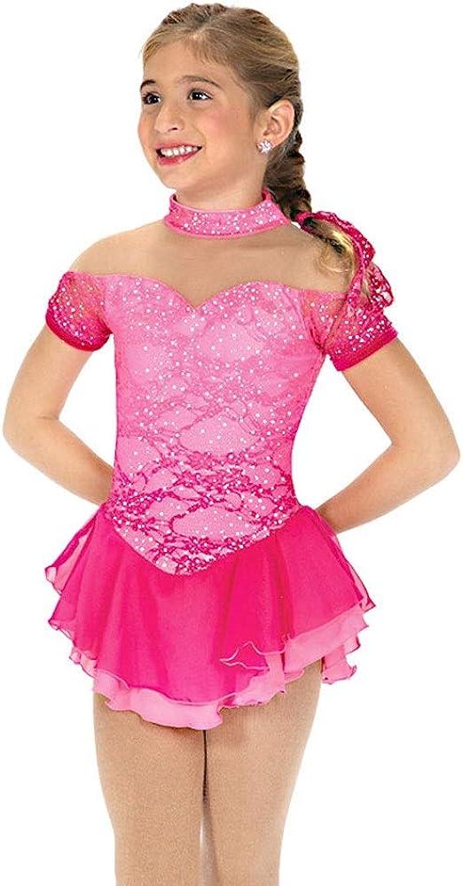 フィギュアスケートドレス女性女子アイススケートのパフォーマンス競争コスチュームスパンデックスラインストーン手作りスケートノースリーブローズ赤を着用してください ローズレッド S