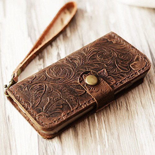 Genuine Italian Leather Case for Iphone 6 plus / iPhone 6s Plus ( 5.5 inch ) Leather Wallet Case Handmade Wristlet Cover Tooled Flower Brown
