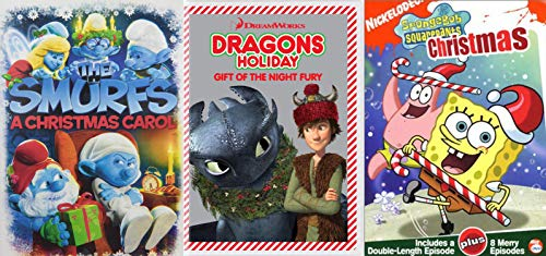 Fantasy Funny Family Holiday Three Pack - The Smurfs: AChristmas Carol, SpongeBob SquarePants Christmas, & Dragons Holiday: Gift of the Night Fury 3-DVD Bundle