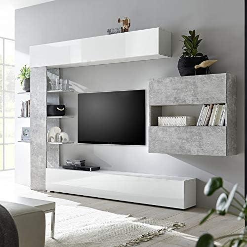 M-012 FINO 2 - Conjunto de muebles para TV, color blanco y gris ...