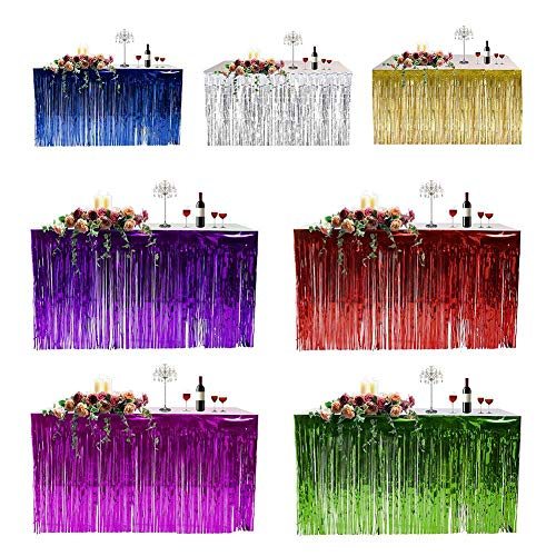 (Table Skirts - 2019 Bed Cover Hawaiian Party Decoration Fringed Table Skirt Celebration Thickened Curtain Holiday - Brown Bridal Rectangle Luau Purple Lights Hooks Light Curly Cloth Navy)