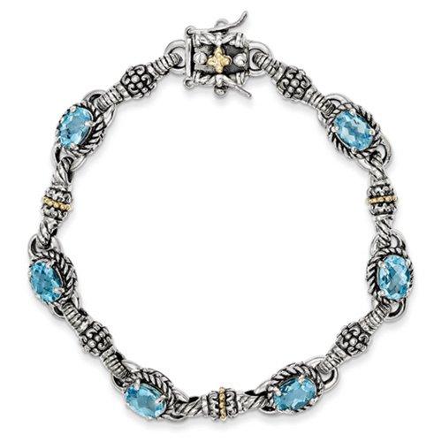 Icecarats Créatrice De Bijoux En Argent Sterling W / 14K 5.71Swiss Bracelet Bleu Topaze 7.25In En 7,25 Pouces