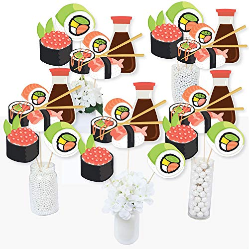 - Let's Roll - Sushi - Japanese Party Centerpiece Sticks - Table Toppers - Set of 15