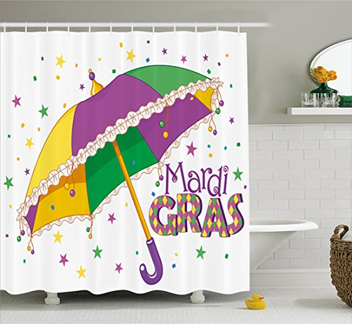 Mardi Gras Shower Curtain by Ambesonne, Parade Preparations Umbrella Stars Confetti Figures Joyful Fun Party, Fabric Bathroom Decor Set with Hooks, 70 Inches, Purple Yellow Green