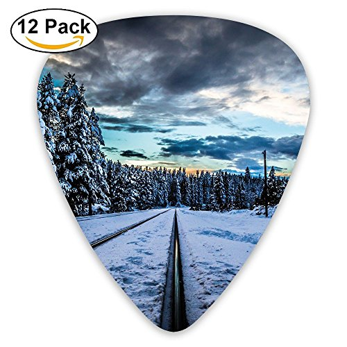 12-pack Fashion Classic Electric Guitar Picks Plectrums Winter Forest Railroad Instrument Standard Bass Guitarist