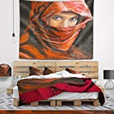 Designart TAP6278-50-60 'Arabian Woman in Hijab' Portrait Tapestry Blanket Décor Wall Art for Home and Office, Large: 50 in. x 60 in.