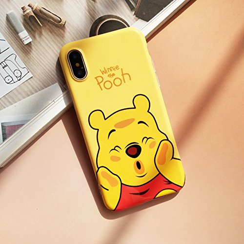 Ultra Slim Soft TPU Winnie the Pooh Bear Case for iPhone X iPhoneX Shockproof Shock Proof Smooth Comfortable Disney Cartoon Cute Chic Hot Lovely High Fashion Stylish Cool Girls Women Teens Kids Yellow - Chic Bear