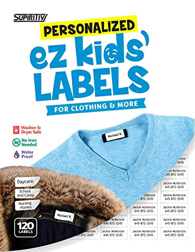 Personalized Labels Kids - 120 Custom Personalized All Purpose Ez Kids' and Adults Clothing Name Labels, Stick-On No-Iron, Washer, Dryer & Dishwasher Safe