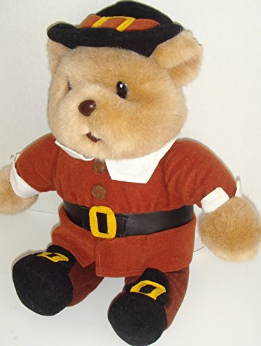 (Thanksgiving Gibson Pilgrim Tan Teddy Bear with Hat Belt Buckle 14