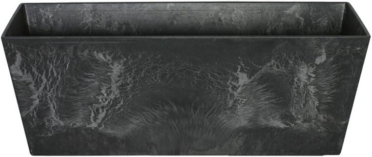 Artstone Maceta para Flores Balconera Ella, Resistente a Las heladas y Ligera, Negro, 55x17x17cm