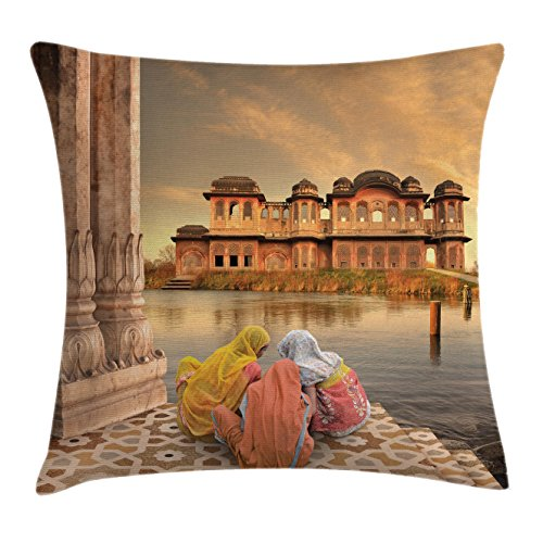 """Ambesonne Vintage Throw Pillow Cushion Cover, Girls Near Traditional Oriental Building Antique Meditation Lands Image Print, Decorative Square Accent Pillow Case, 16"""" X 16"""", Brown Orange"""