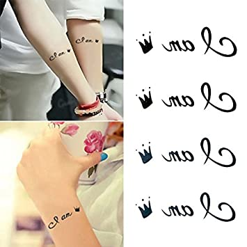 Amazon.com : Oottati Small Cute Temporary Tattoo Wrist Crown ...