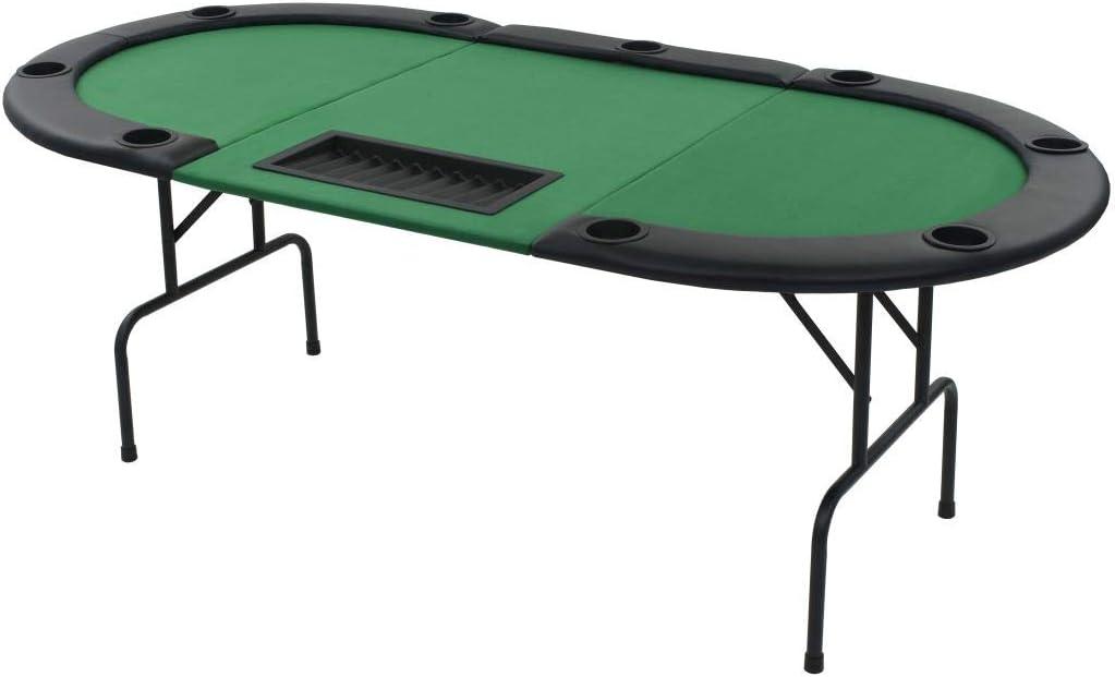 vidaXL Tablero de Póker Plegable 9 Jugadores Ovalado Verde Mesilla Auxiliar
