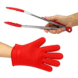 """Just-f-Care Heat Resistant Grilling BBQ Useful Set, Silicone Glove for Cooking, Baking, Smoking & Potholder, Unisex Size & Stainless Steel Kitchen Food 12"""" Tongs, Best Gift, Red, 2 Piece"""