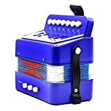 Dovewill Kids Accordion Musical Instrument Seven Button Playing Christmas Gifts Blue
