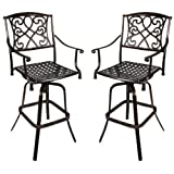 Set of 2 – Cast Aluminum Outdoor Swivel Type Bar Stool w/ Copper Finish Review