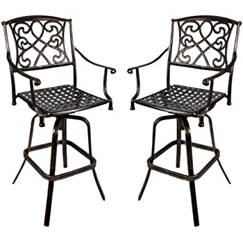 darlee nassau cast aluminum counter height swivel bar stool with seat cushion set. Black Bedroom Furniture Sets. Home Design Ideas