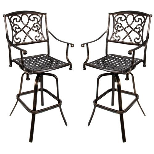 Set of 2 - Cast Aluminum Outdoor Swivel Type Bar Stool w/ Copper (Aluminum Outdoor Bar Stools)