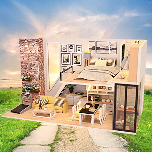 LtrottedJ 3D Wooden DIY Miniature House Furniture LED House Puzzle Decorate Creative Gifts (B)