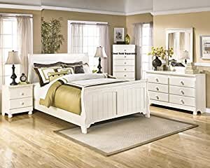 Cottage Retreat Vintage Casual Sleigh Bed Room Set In Cream Finish Full Bed
