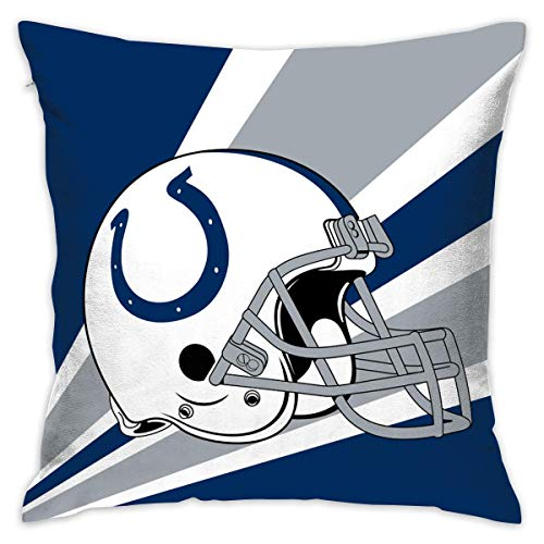 luckyly Custom Pillowcase Colorful Indianapolis Colts American Football Team Bedding Pillow Covers Pillow Cases for Sofa Bedroom Bedding Car Home Decorative - 18x18 Inches ()