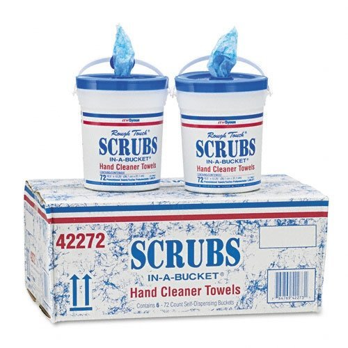 Dymon 42272 Scrubs in a Bucket Hand Cleaner Towels, 72 count per bucket, Case of 12