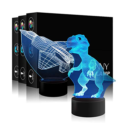 Plane & Dinosaur 2-in-1 Illusion 3D LED Night Lamp Table Lamp 7-Color Multicolored 3D Optical Illusion Visualization LED Night Lights USB Power and Battery for Living Bed Room Bar Best Gifts for Boys